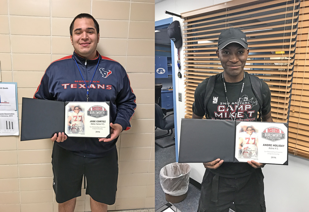 Jose Cortez (left) and Andre Holiday (right) hold their awards.