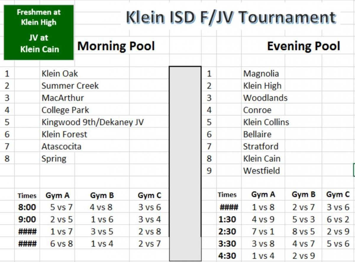 Tournament Info for Saturday ( Freshman & JV)